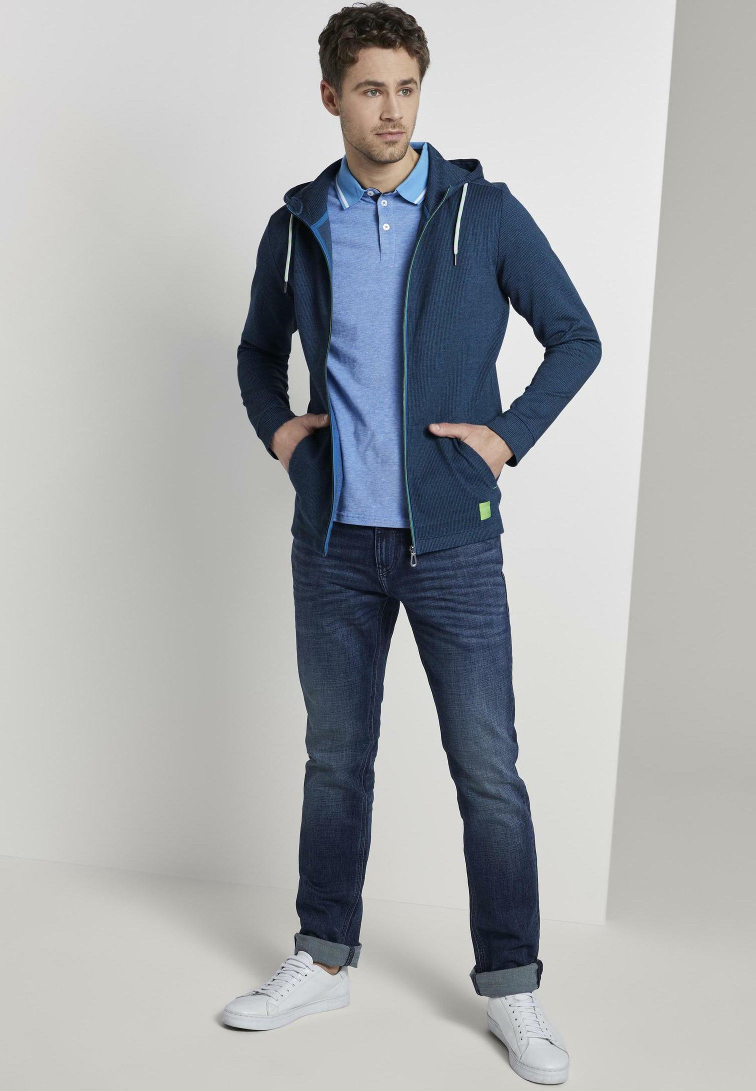 Tom Tailor T-shirt Gemusterte Kapuzenjacke Aus Jersey - Vest Blue 1Thl7AY