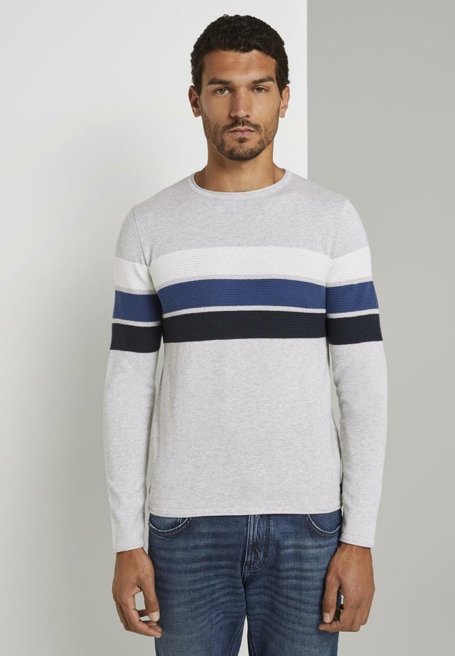 Sudadera - grey melange white blue stripe