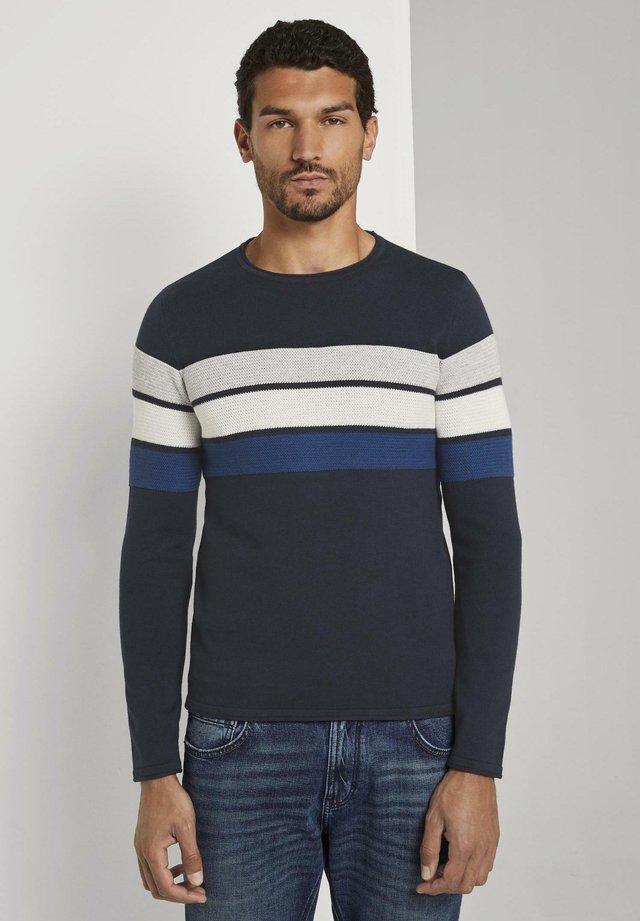 Sudadera - navy grey white blue stripe