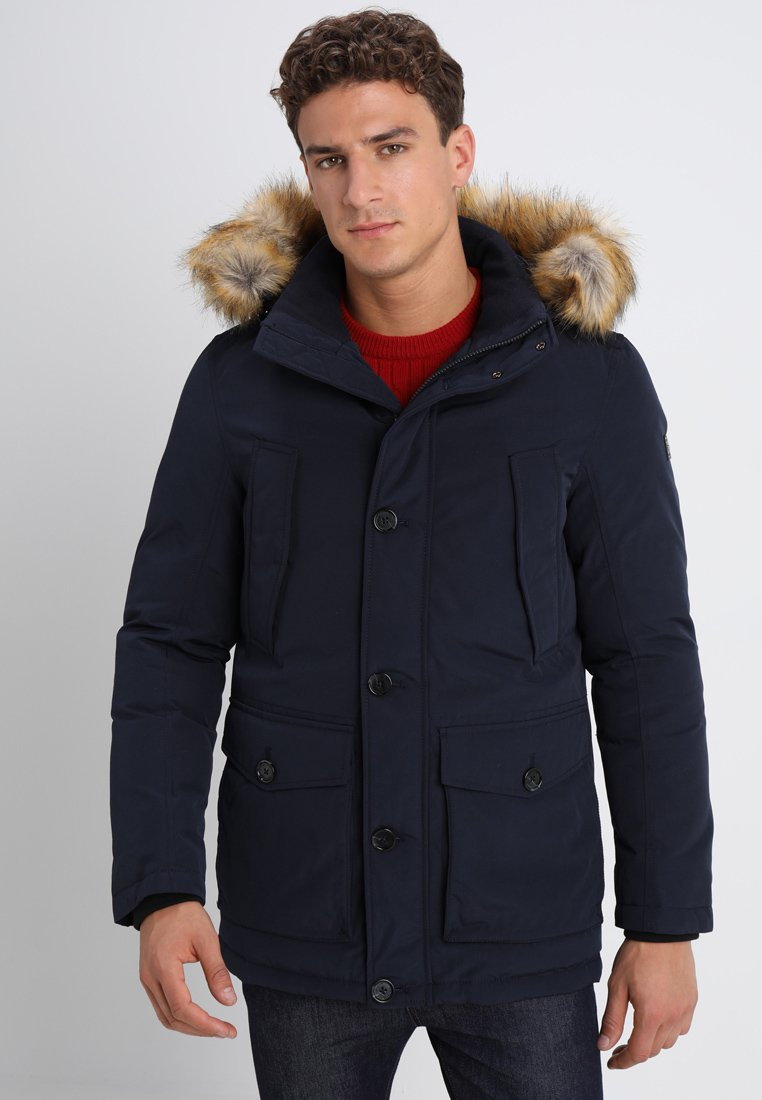 TOM TAILOR - PADDED WITH HOOD - Winter coat - knitted navy