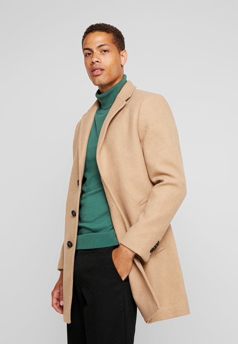 TOM TAILOR - WOOL COAT IUTTONS - Abrigo corto - beige wool structure