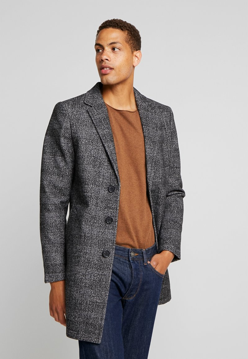 TOM TAILOR - WOOL COAT IUTTONS - Krótki płaszcz - black/grey