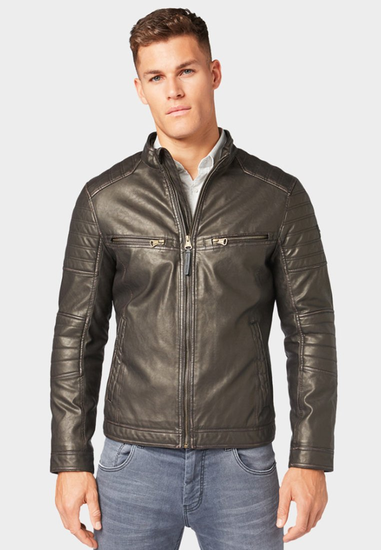 TOM TAILOR - Faux leather jacket - brown