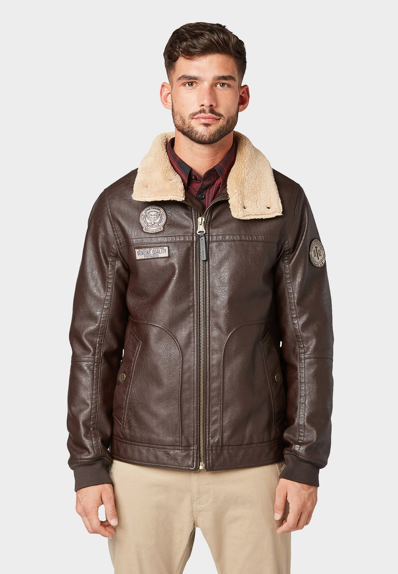 TOM TAILOR - Faux leather jacket - brown leather