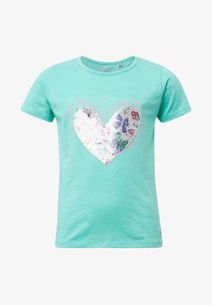 MIT PAILLETTEN - T-shirt print - beveled glass/green