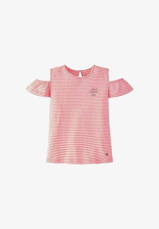 T-SHIRT GESTREIFTES COLD-SHOULDER T-SHIRT - T-shirt print - knockout pink