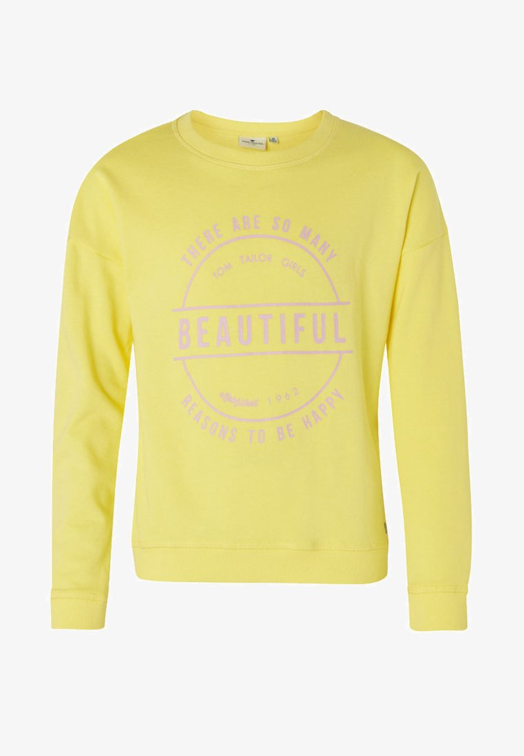 TOM TAILOR - MIT SCHRIFT-PRINT - Sweatshirt - yellow