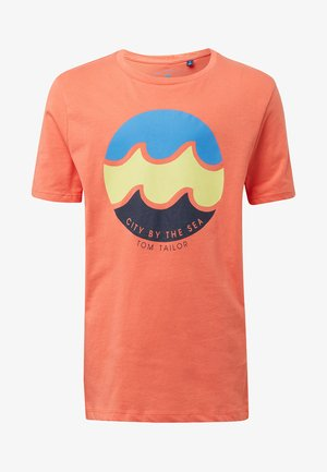 T-shirt print - coral/beige