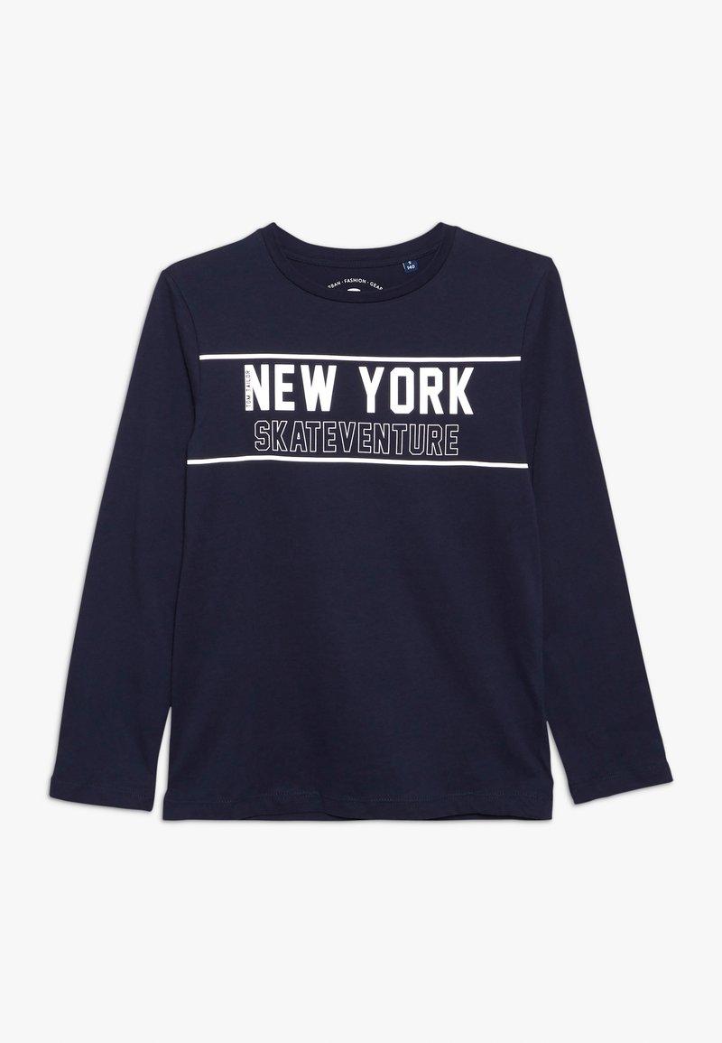 TOM TAILOR - PLACED PRINT - T-shirt à manches longues - dress blue