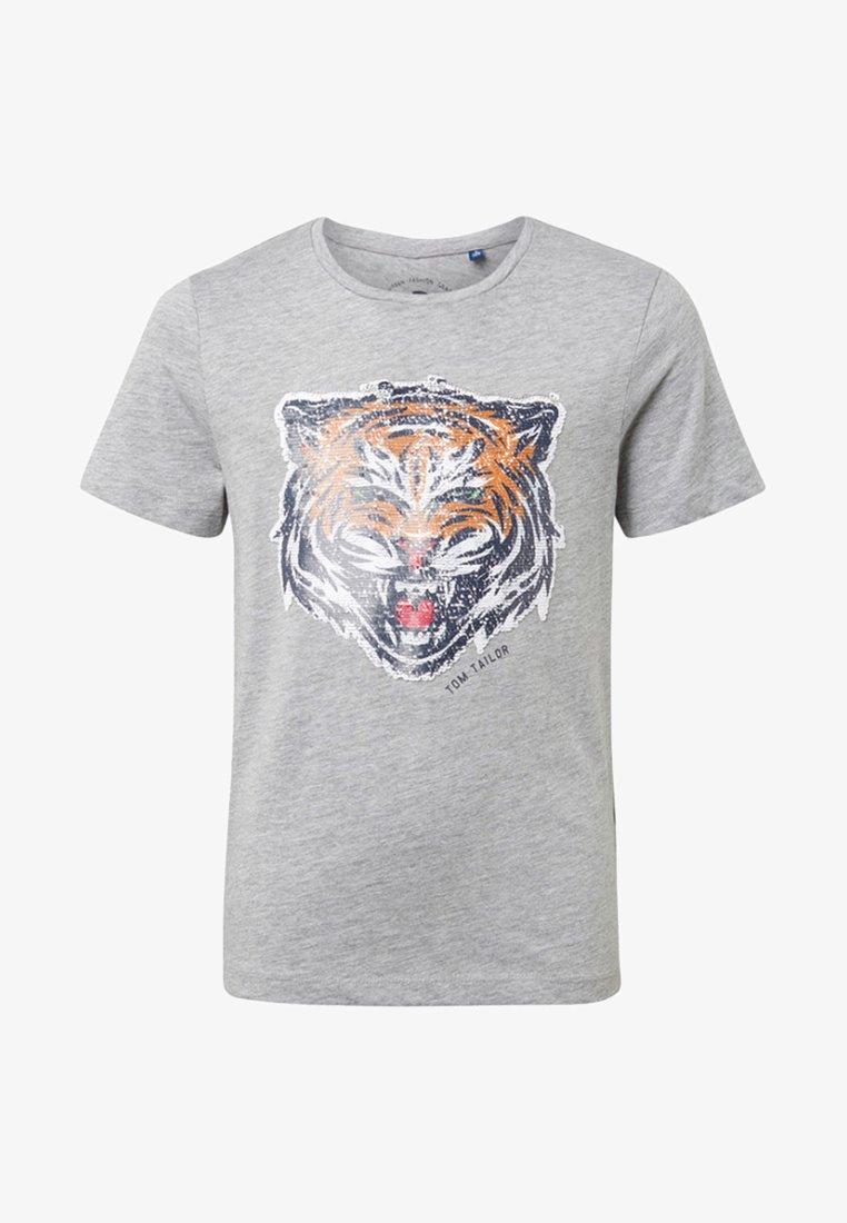 TOM TAILOR - MIT PAILLETTEN-ARTWORK - T-shirt imprimé - grey