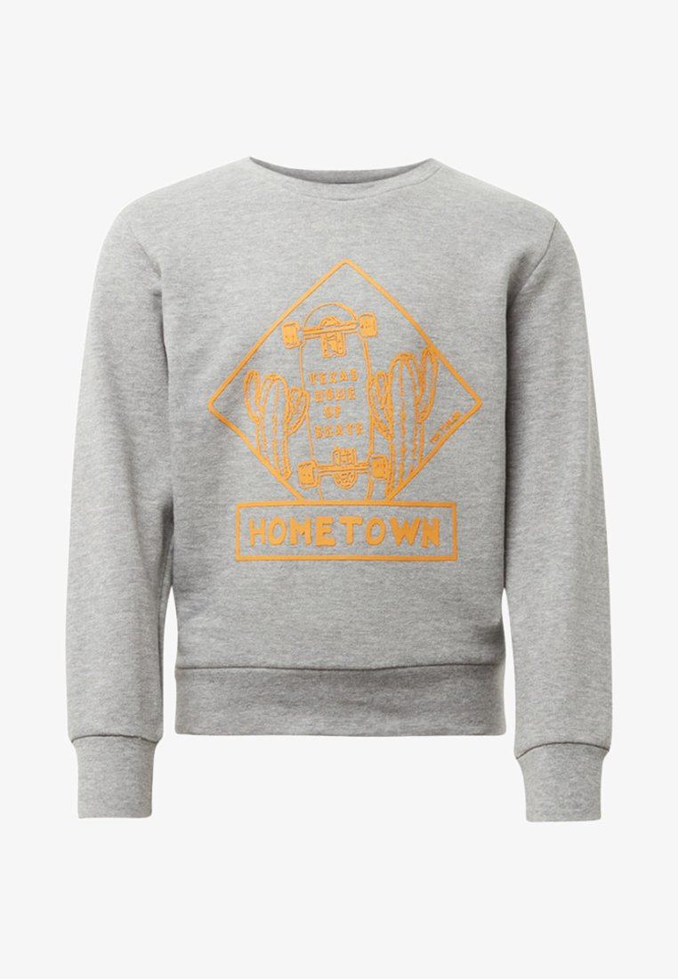TOM TAILOR - MIT PRINT - Sweater - drizzle melange/grey
