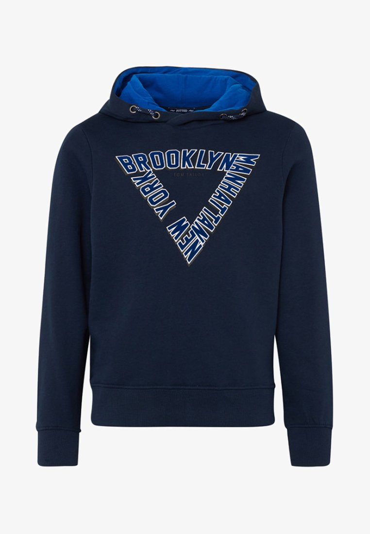 TOM TAILOR - MIT FLOCK-PRINT - Kapuzenpullover - dress blue