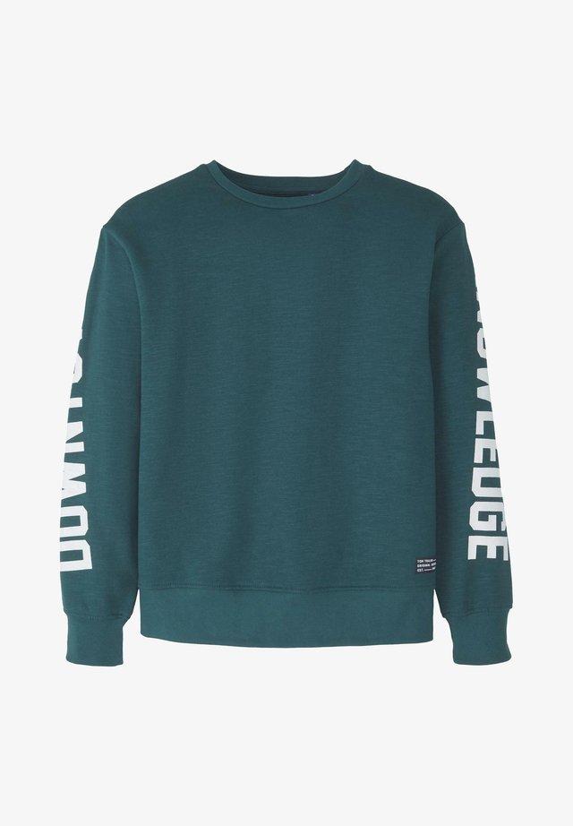 TOM TAILOR STRICK & SWEATSHIRTS SWEATSHIRT MIT SCHRIFT-PRINT - Sweater - deep teal green