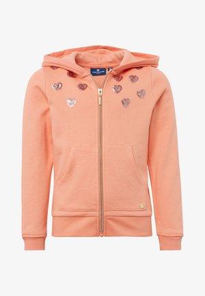 MIT PAILLETTEN - Zip-up hoodie - peach amber/rose