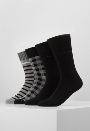 SOCKS CHECKS STRIPES 4 PACK - Strumpor - black