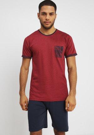 SHORTY - Pyjama set - rot-dunkel-melange