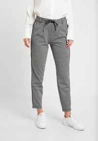 TOM TAILOR DENIM - SOFT HOUNDSTHOOTH PANTS - Trousers - black/white - 0
