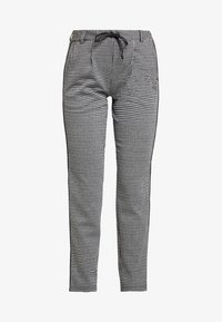 TOM TAILOR DENIM - SOFT HOUNDSTHOOTH PANTS - Trousers - black/white - 5