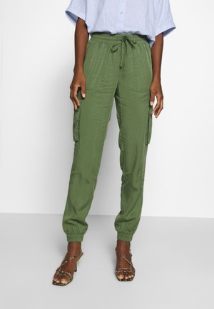 SOFT UTILITY TRACK PANTS - Trousers - dull moss green