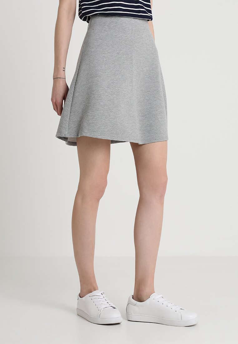 TOM TAILOR DENIM - STRUCTURED SKATER SKIRT - A-line skirt - light silver grey