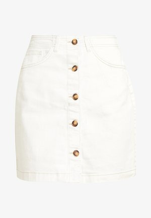 MINI SKIRT - Denim skirt - bull denim/white