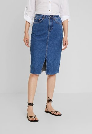 MIDI STRAIGHT SKIRT - Blyantskjørt - mid stone wash denim/blue