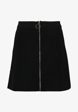 SKIRT WITH FRONT ZIPPER - Áčková sukně - deep black