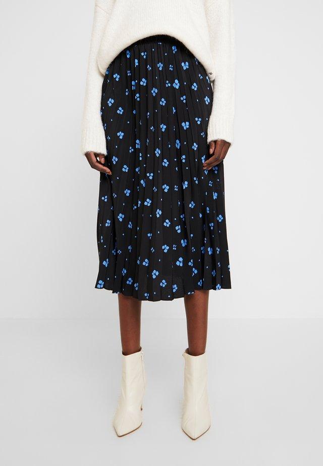 FLOWER PLISSEE SKIRT - A-linjekjol - black/blue