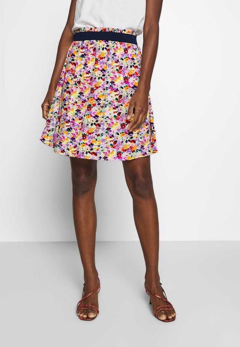 TOM TAILOR DENIM - MINI FLOWER SKIRT - A-line skjørt - multicolor