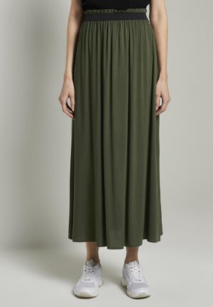 MIT ELASTISCHEM BUND - Pleated skirt - dusty rifle green