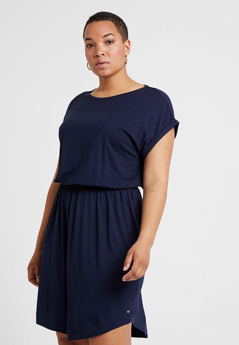TOM TAILOR DENIM - MINI DRESS - Žerzejové šaty - real navy blue