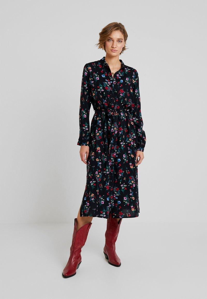 TOM TAILOR DENIM - SHIRT DRESS WITH FLOWER - Skjortklänning - black