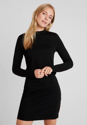 STAND UP COLLAR BODYCON DRESS - Shift dress - deep black