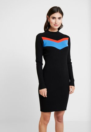 COLORBLOCK DRESS - Shift dress - deep black