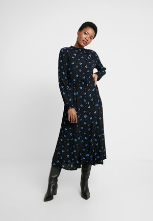 PRINTED GODET MIDI DRESS - Kjole - black
