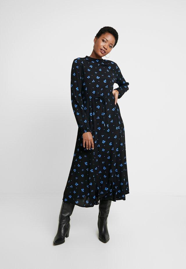 PRINTED GODET MIDI DRESS - Korte jurk - black