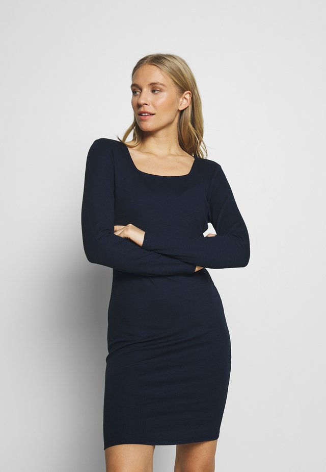 CARREE NECK BODYCON DRESS - Trikoomekko - real navy blue