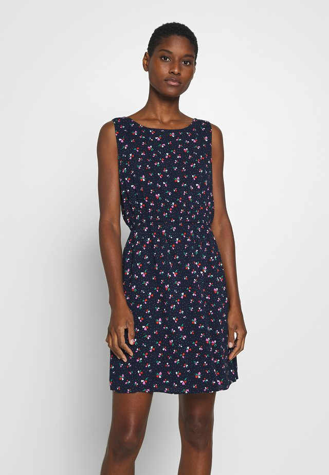 PRINTED DRESS WITH BACK STRAP - Day dress - navy