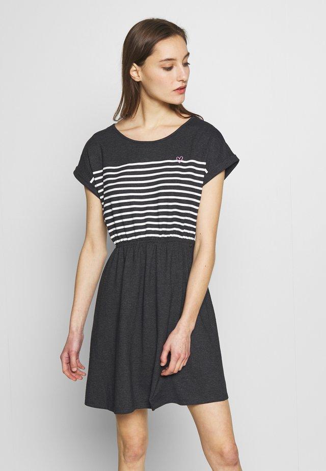 MINI DRESS WITH STRIPES - Jersey dress - shale grey