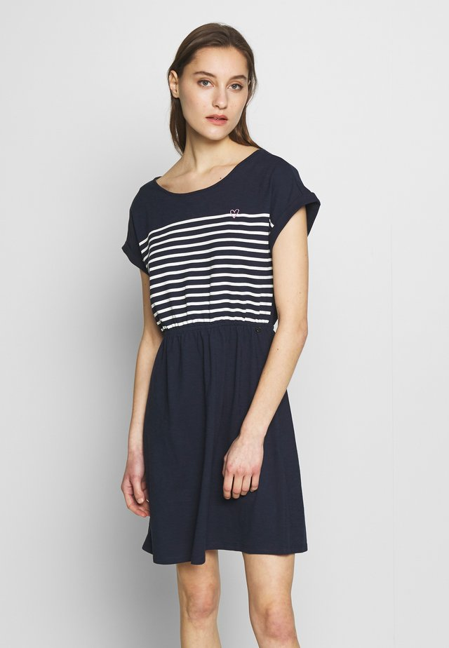 MINI DRESS WITH STRIPES - Jersey dress - real navy blue
