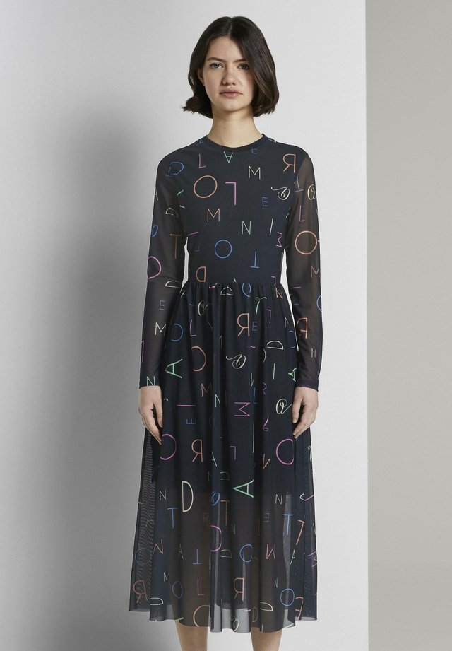 PRINTED RIB COLLAR MESH DRESS - Korte jurk - navy