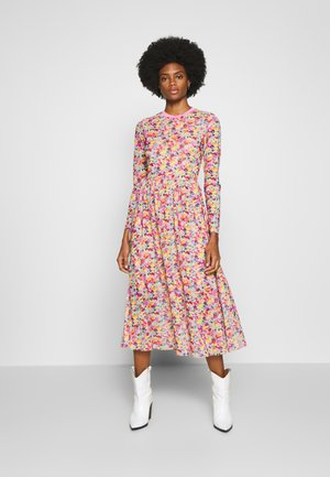PRINTED RIB COLLAR MESH DRESS - Robe d'été - multicolor