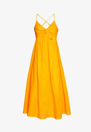MIDI DRESS WITH KNOT DETAIL - Day dress - orange yellow