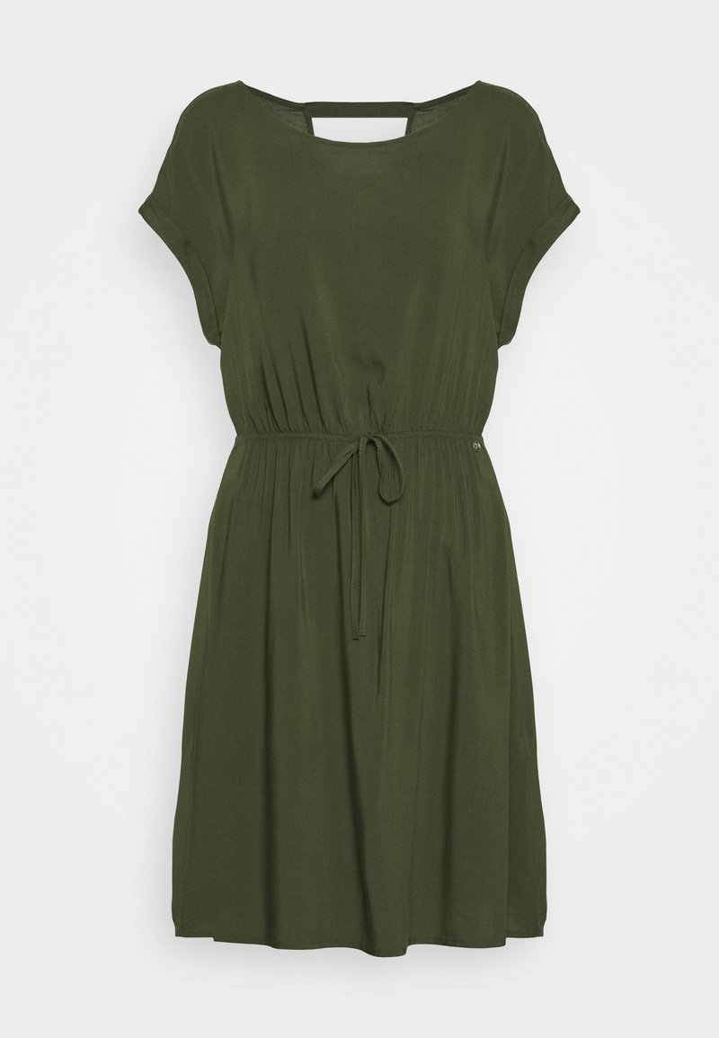 TOM TAILOR DENIM - OVERCUT SHOULDER DRESS - Freizeitkleid - dusty rifle green