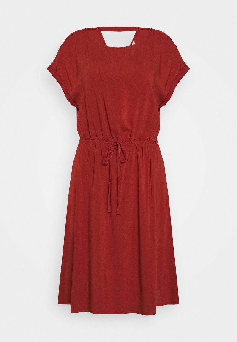 TOM TAILOR DENIM - OVERCUT SHOULDER DRESS - Korte jurk - rust orange