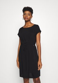 TOM TAILOR DENIM - OVERCUT SHOULDER DRESS - Korte jurk - deep black - 0