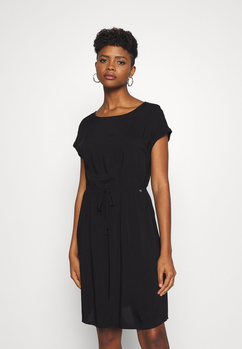 TOM TAILOR DENIM - OVERCUT SHOULDER DRESS - Korte jurk - deep black