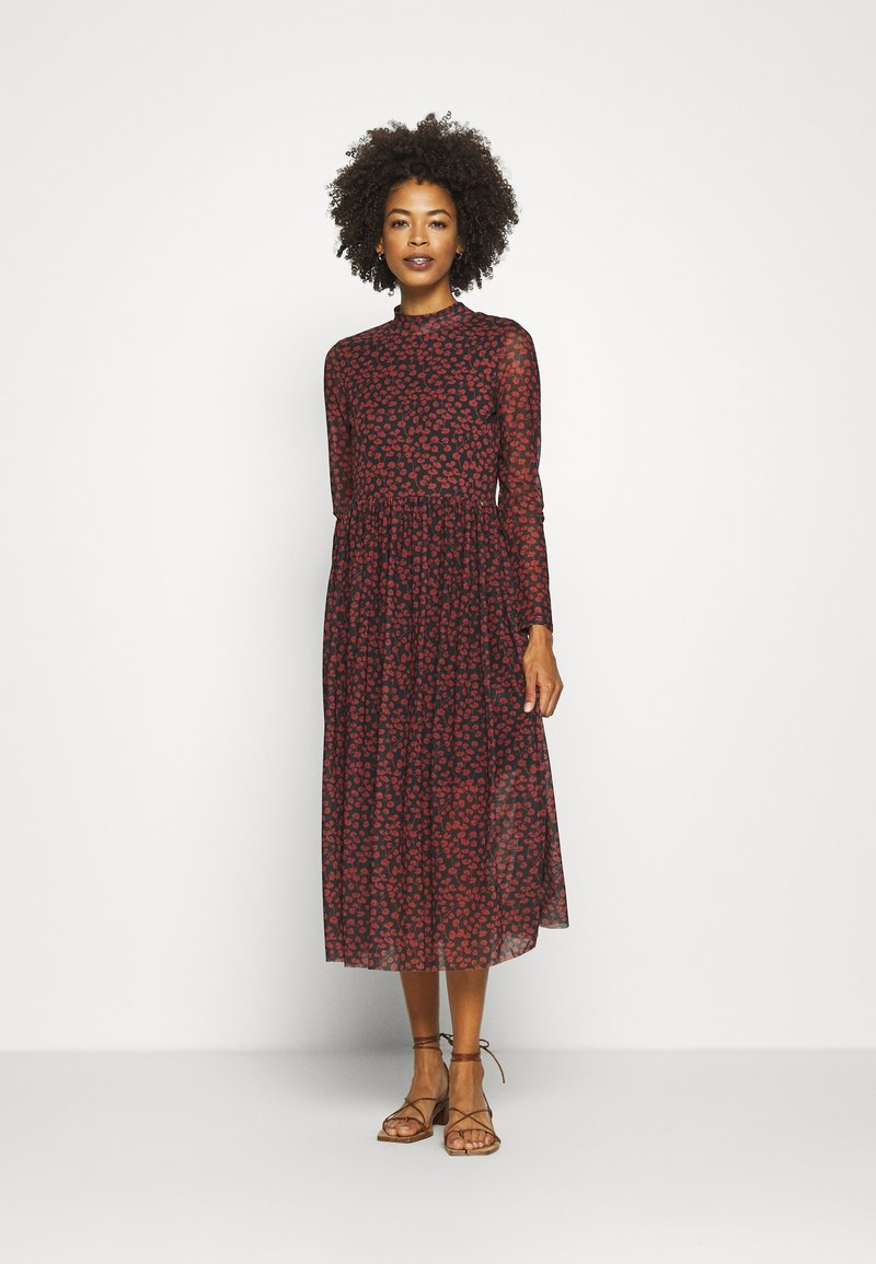 TOM TAILOR DENIM - PRINTED DRESS - Day dress - black/rust