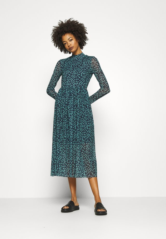 PRINTED DRESS - Sukienka letnia - navy/mint