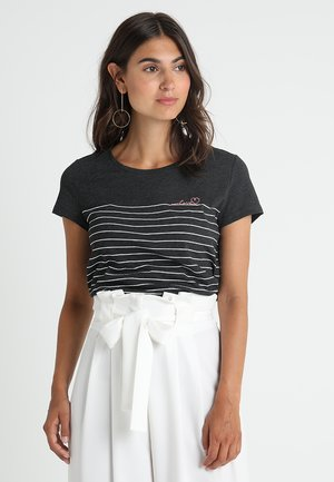 STRIPED TEE - T-shirt print - dark anthracite melange